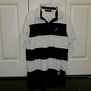 Nautica Mens polo blue and white New!